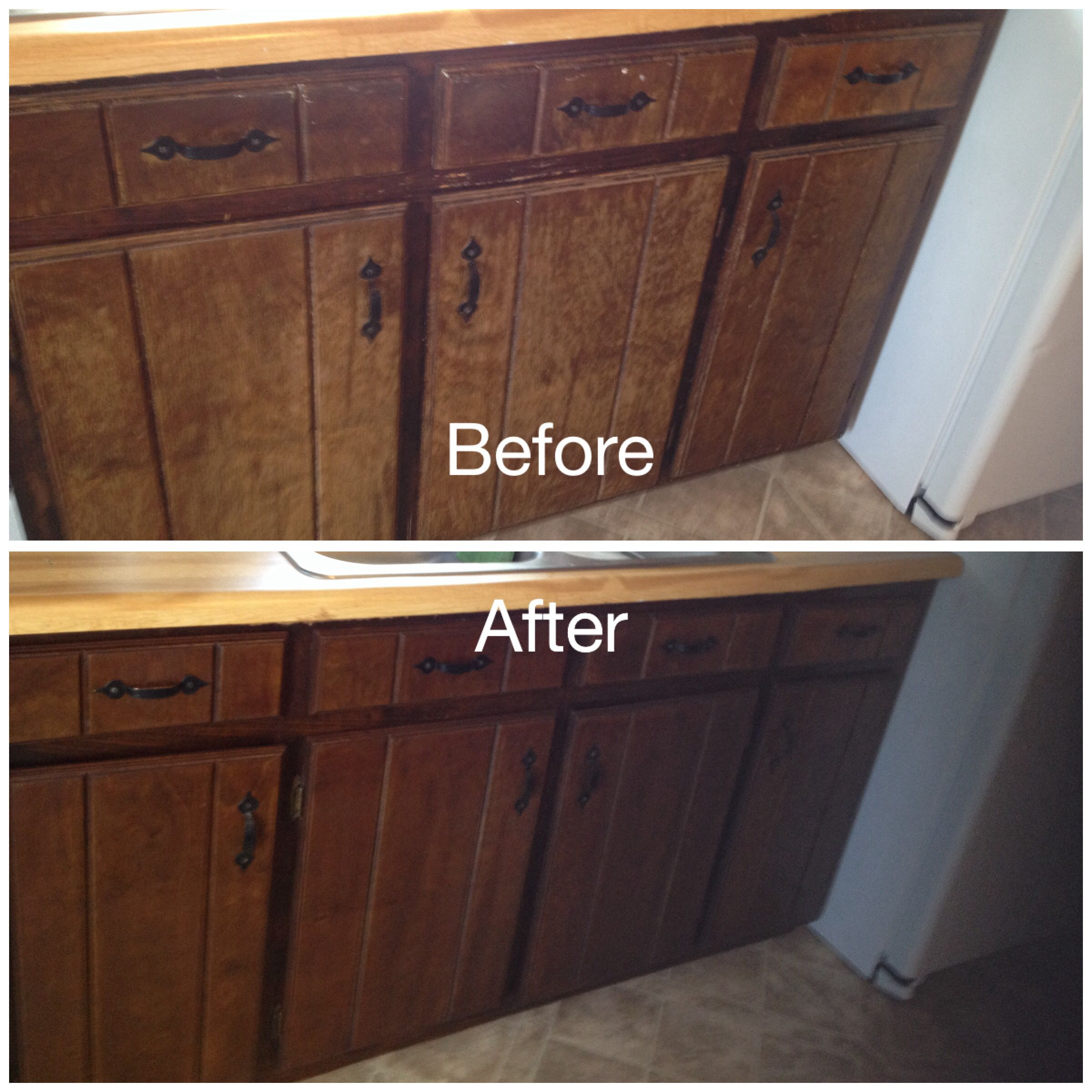 kitchen cabinet stain My worn kitchen cabinets stained with Minwax Gel Stain in Hickory removed doors