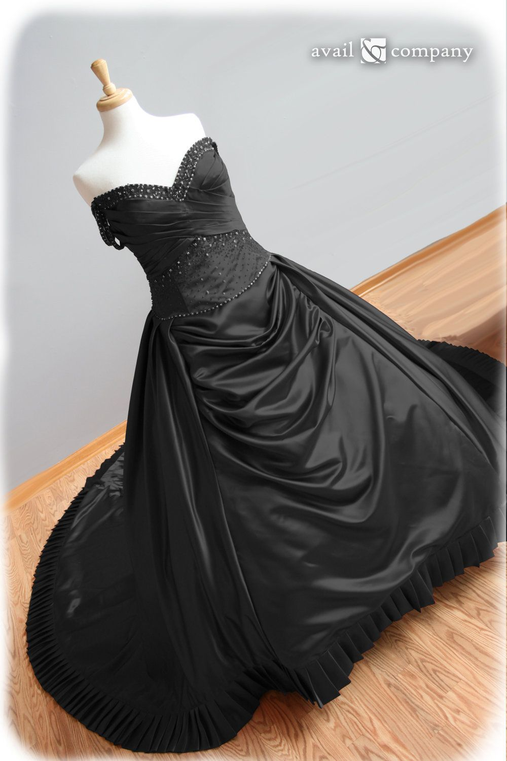 cheap black wedding dresses Black Wedding Dress Gothic Wedding Dress Ball Gown Style with Pleats and Crystal Beading Custom Made in your size