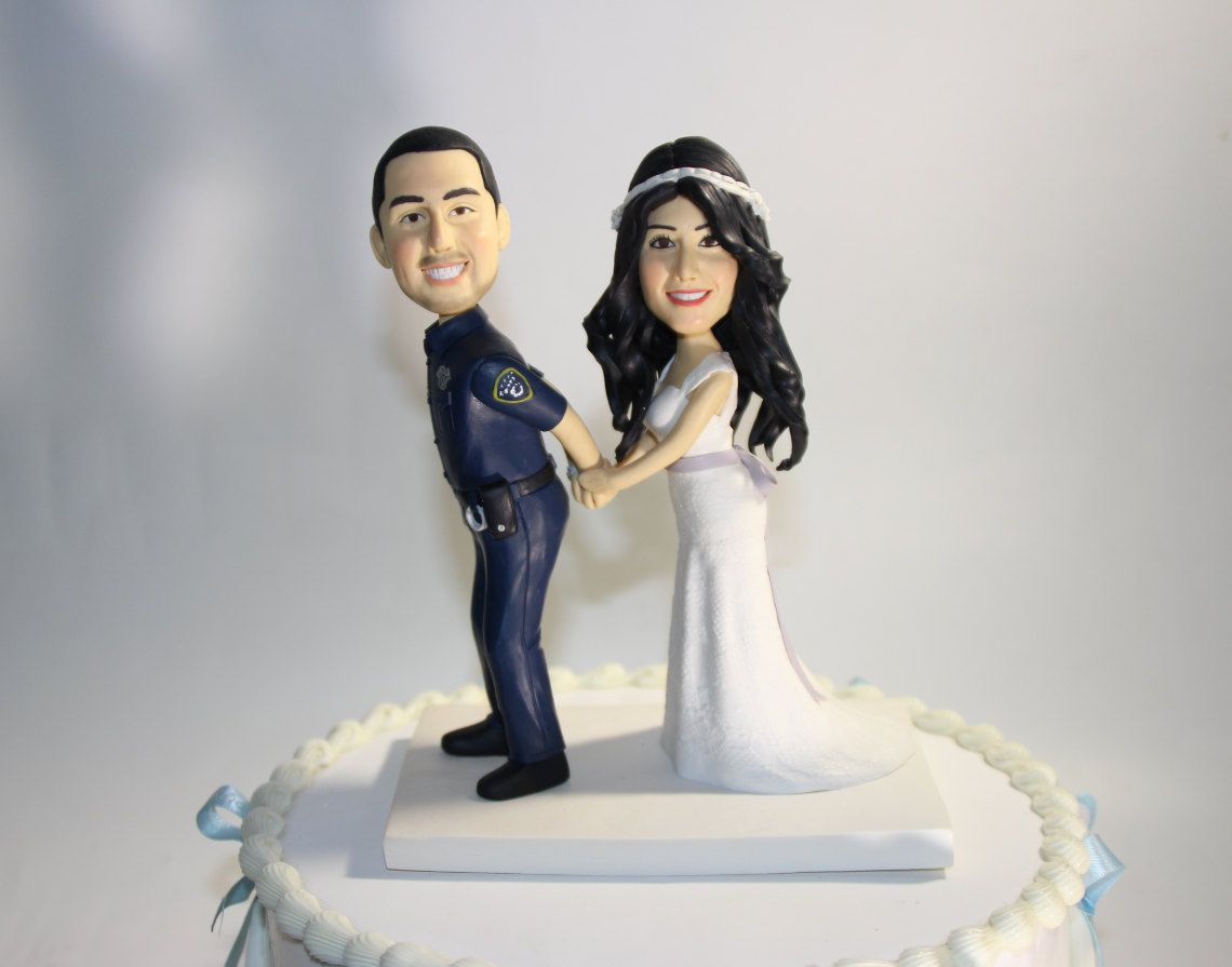 wedding cake toppers funny Custom Police Wedding Cake Topper Handcuff Arrest Officer funny Garda Uniform Cake Topper Engagement Cake Topper Figurines