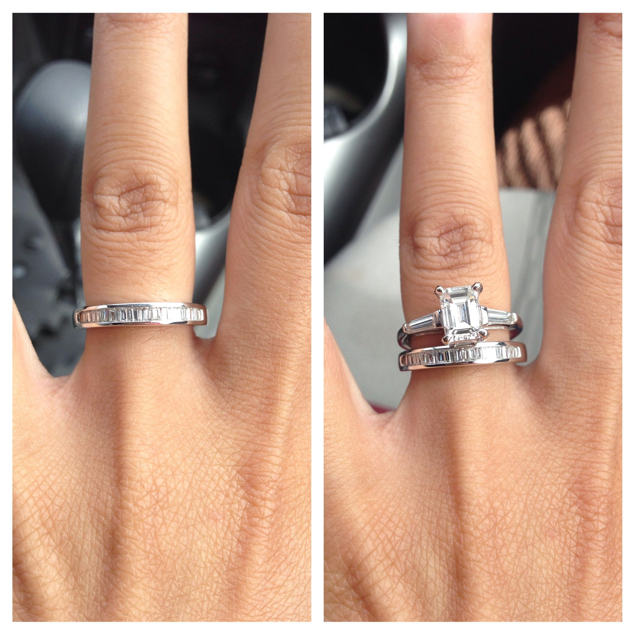 dainty wedding bands Baguette wedding band with emerald cut ring id like something like this only a more