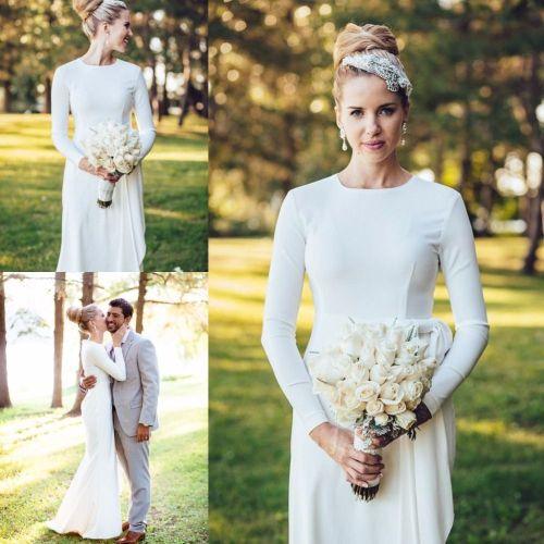 plain wedding dresses Elegant Simple Wedding Dress High Neck Long Sleeve Mermaid Floor Length Wedding Dresses Buttons Satin White