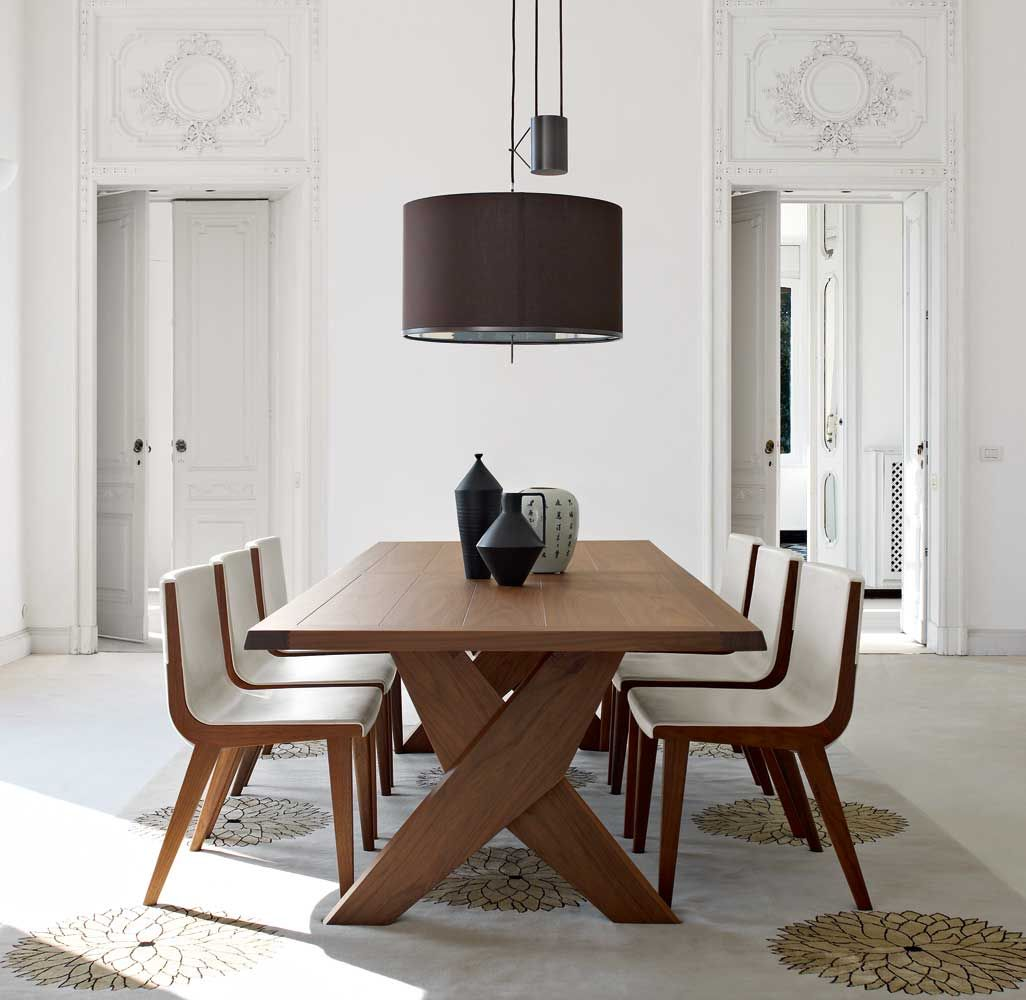 solid wood kitchen tables Furniture Fabulous Solid Wood Maxalto B B Italia Dining Table With Two Solid Wood X
