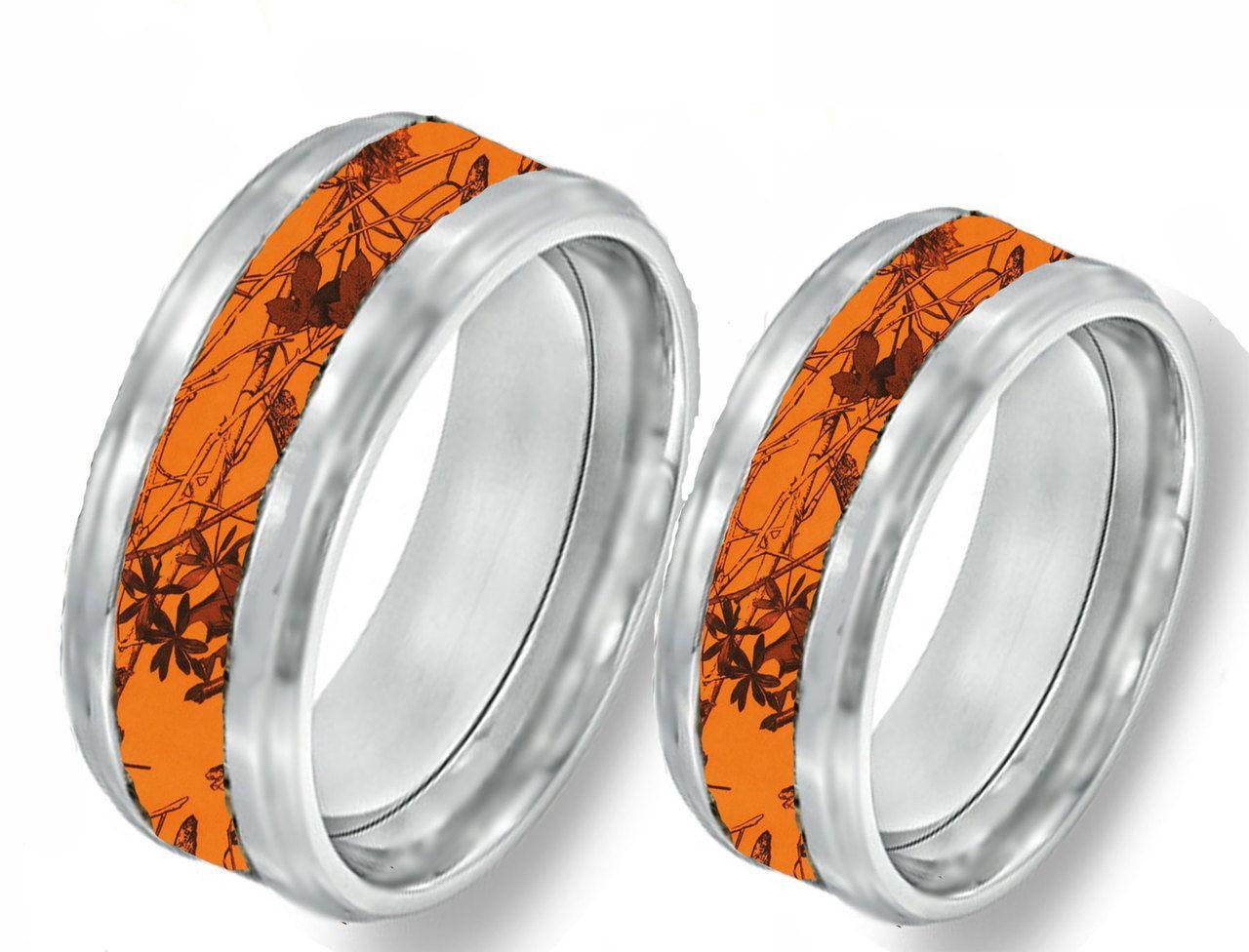 camo wedding band sets Orange Camo Band Couples Ring Set