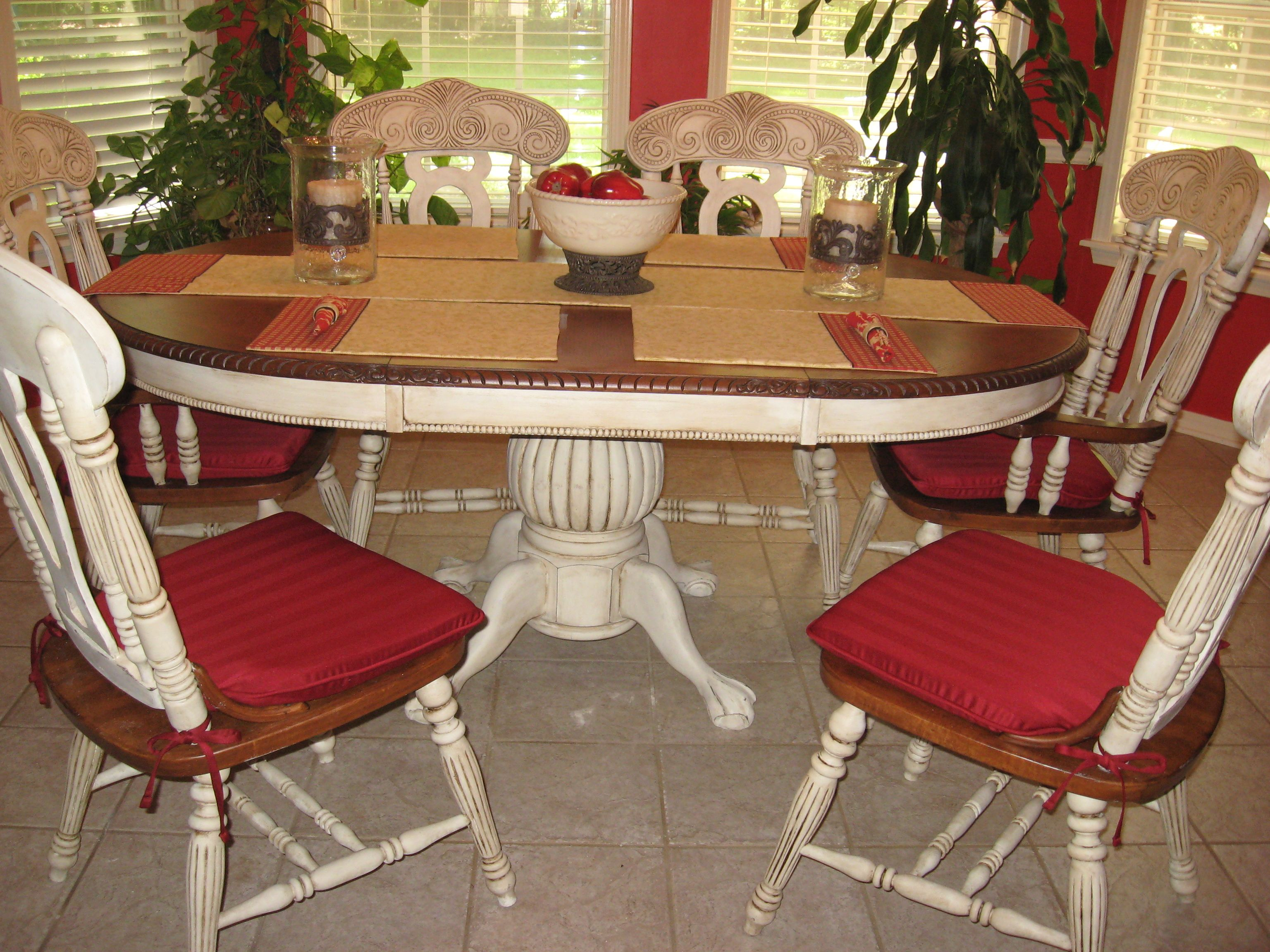 chalk paintdining tables painted kitchen tables Distressed my dining room table and chairs with Pure White Chalk Paint decorative paint and