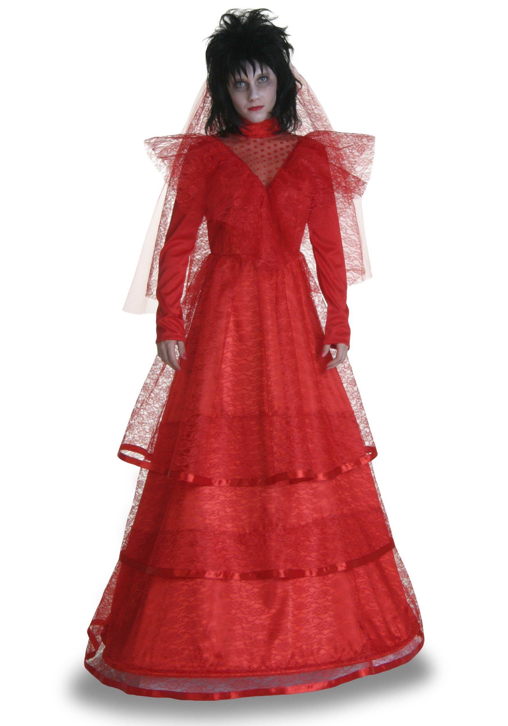 red gothic wedding dress Beetlejuice Lydia Deetz s Red Gothic Wedding Dress Halloween Party with Tim Burton