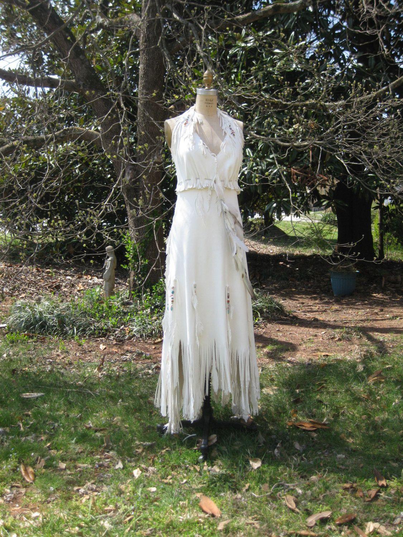 native american wedding dress White Leather Wedding Dress Native American By Hippiebride On Etsy Wedding Interest
