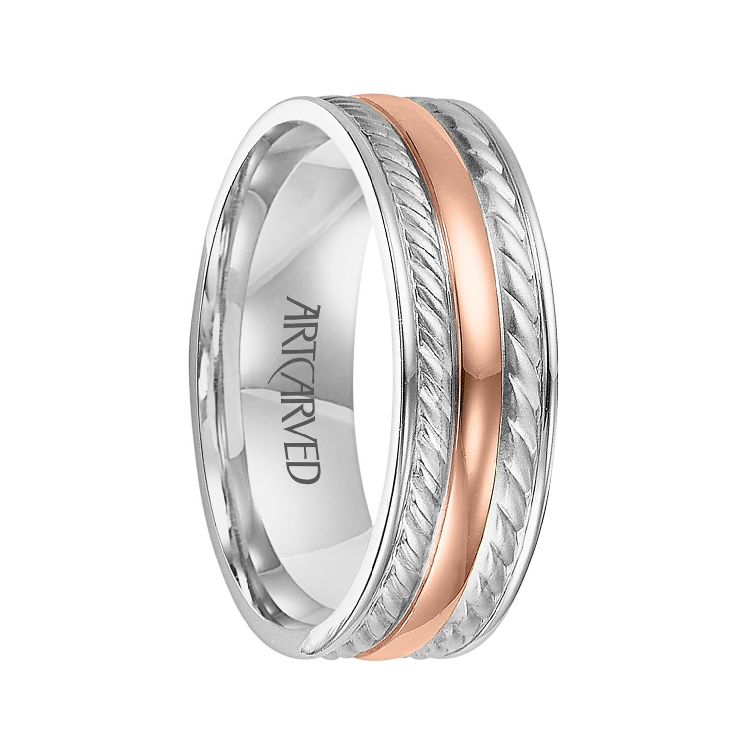 palladium wedding bands ArtCarved Rings DIXON Two Tone 14K White Gold Ring with Rose