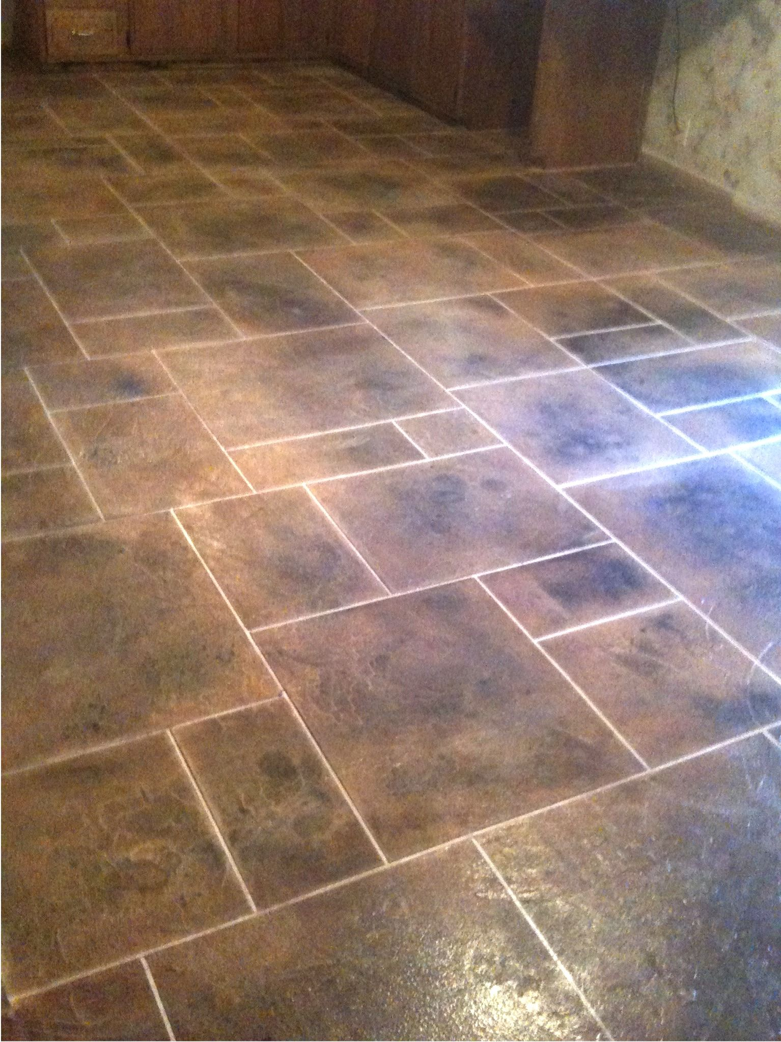 kitchen tile floor ideas Kitchen Floor Tile Patterns concrete overlay random pattern stone tile kitchen floor