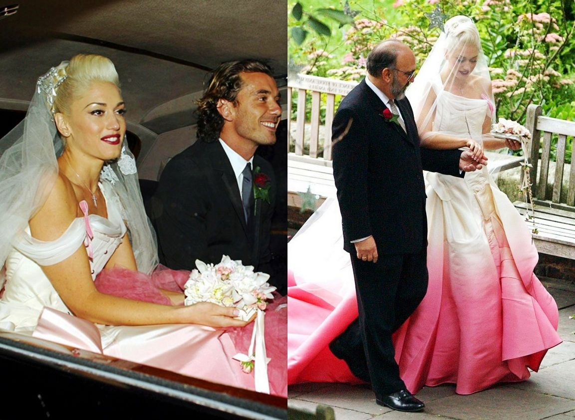 ombre wedding dress Gwen Stefani ombre pink wedding dress
