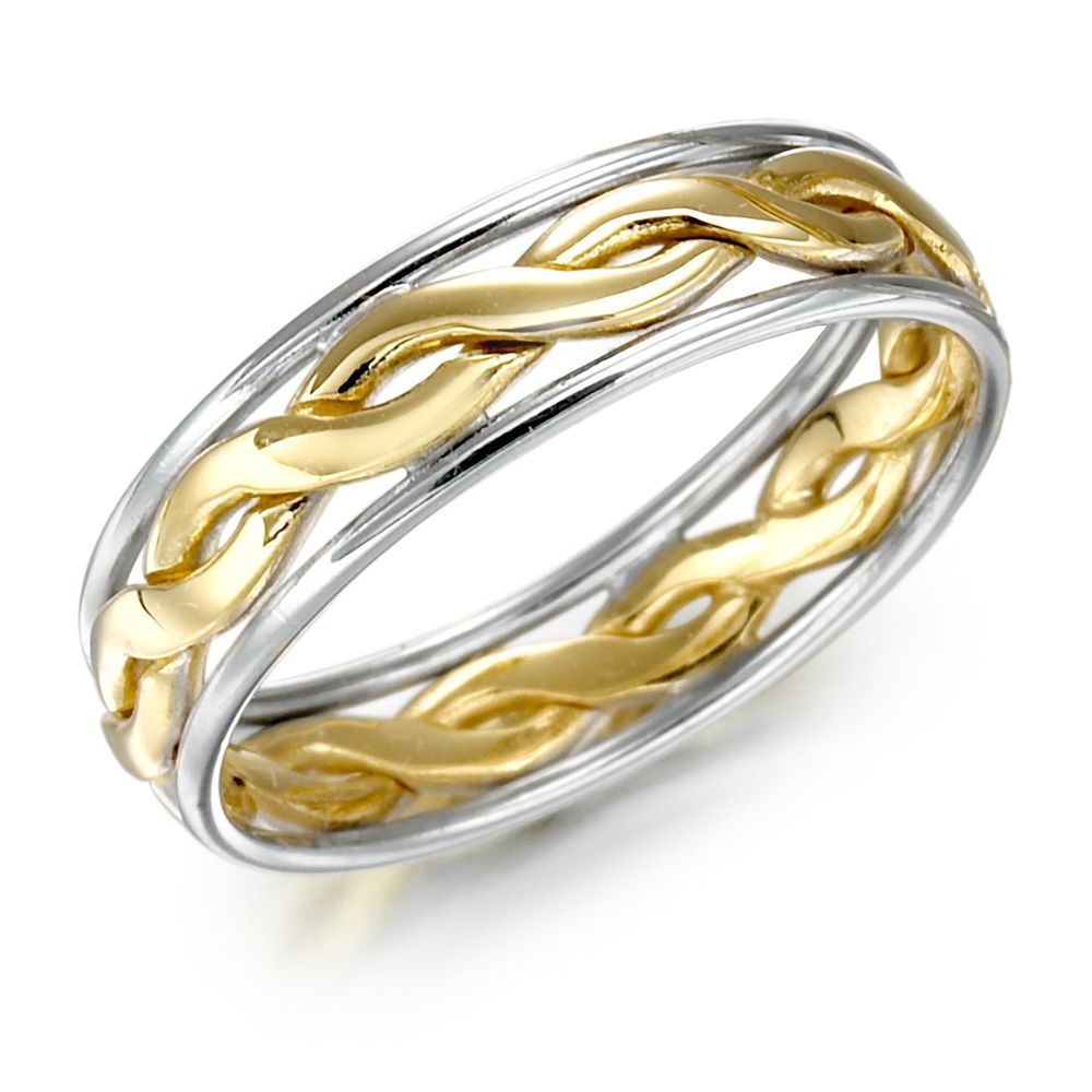 male wedding bands Irish Wedding Ring Mens Gold Two Tone Celtic Knot Wedding Band
