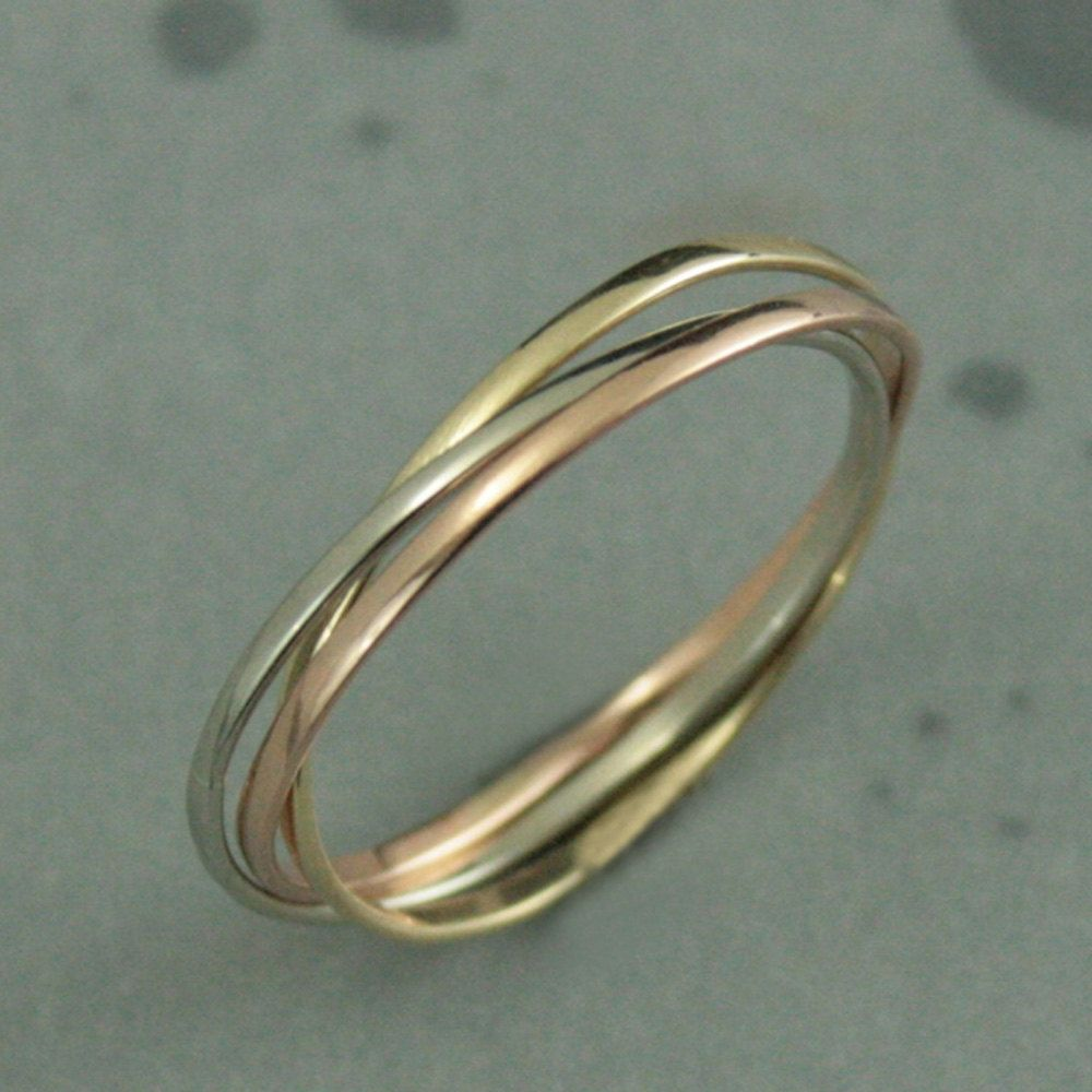 triple band wedding ring 10K Super Skinny Minnie Rolling Ring Tri Color Rolling Ring Interlocking Bands 10K Gold Russian Wedding Band TriColor Bands
