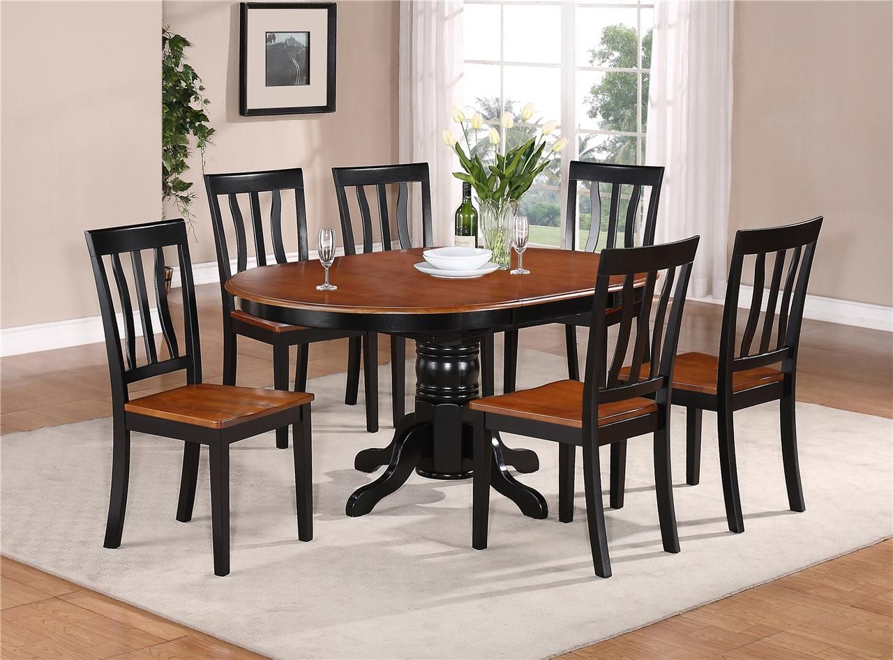 kitchen tables sets 7 PC OVAL DINETTE KITCHEN DINING SET TABLE w 6 WOOD SEAT CHAIRS IN BLACK CHERRY