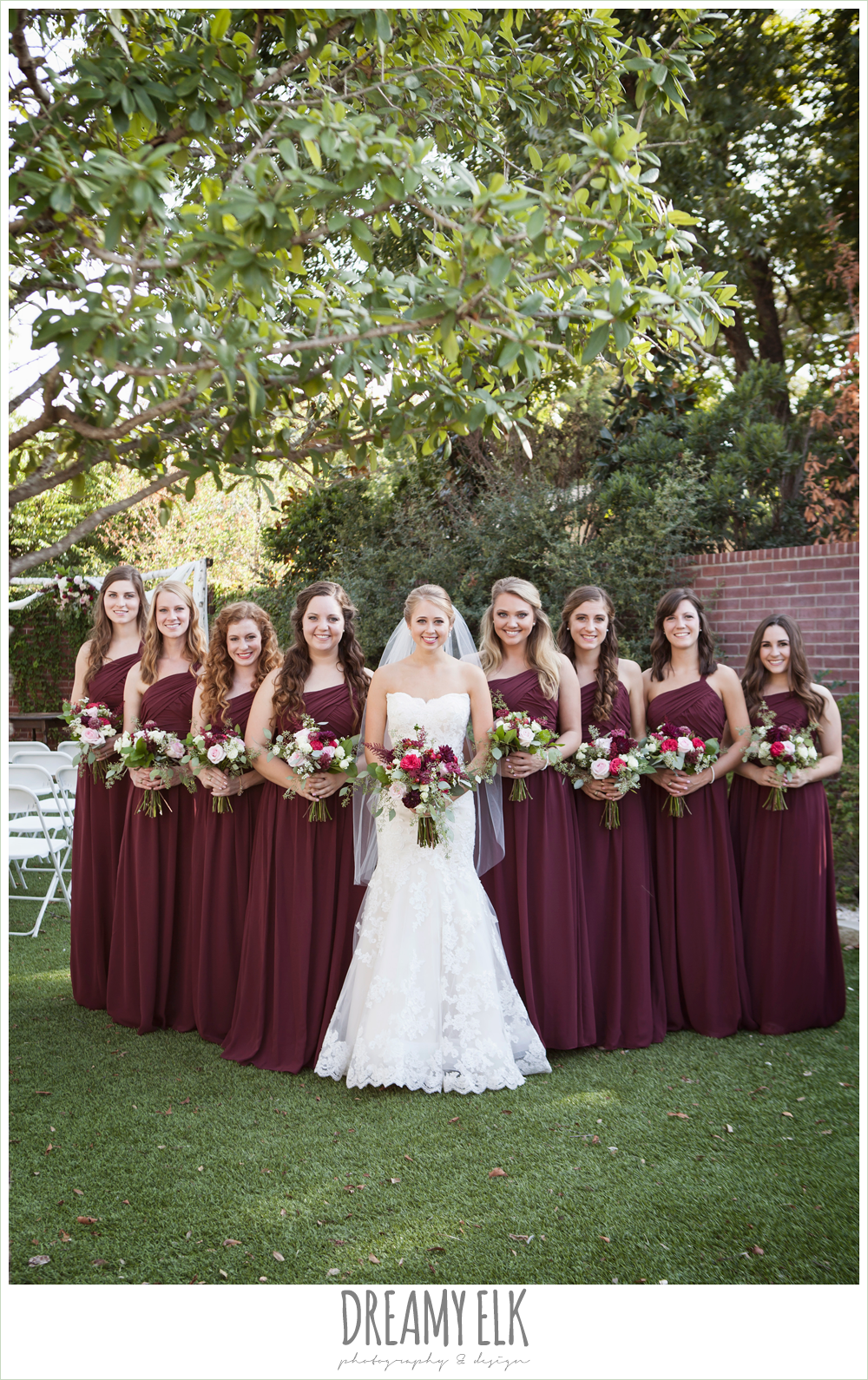 burgundy wedding dresses flourish floral design burgundy and light pink wedding bouquets bride and bridesmaids mermaid