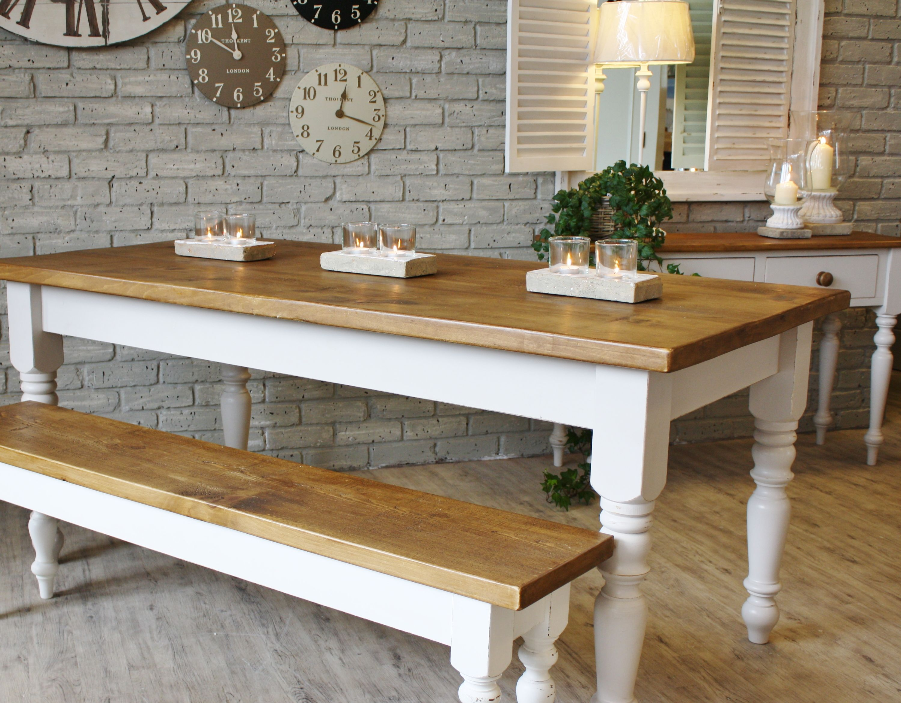 kitchen table with benches white and cream farmhouse White Cream Farmhouse Wooden Kitchen Tables with Candle Holders