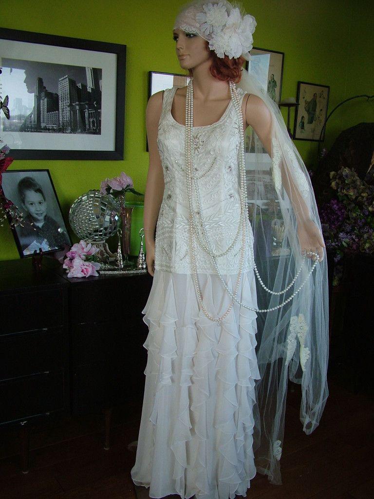 s wedding dress flapper dresses s Flapper Downton Abbey boardwalk Empire wedding DRESS Very Tres