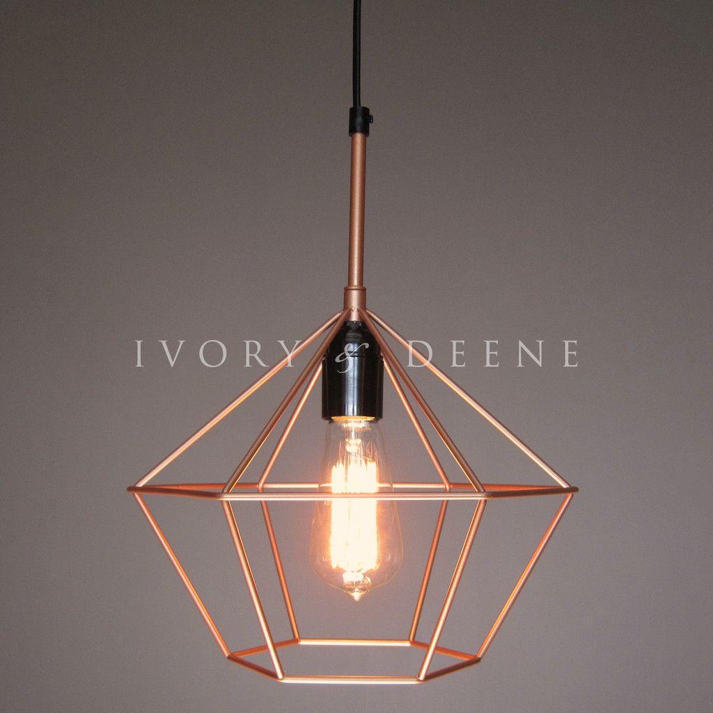 copper pendant light kitchen Diamond Cage Copper Tone Pendant Light for Kitchen Dining Living Room