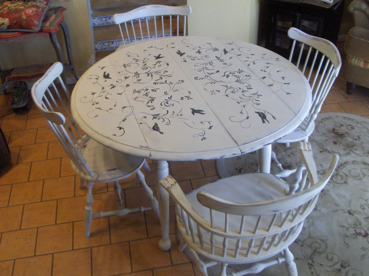 refinishing kitchen table Chabby Chic Hand Painted Dining table and chairs
