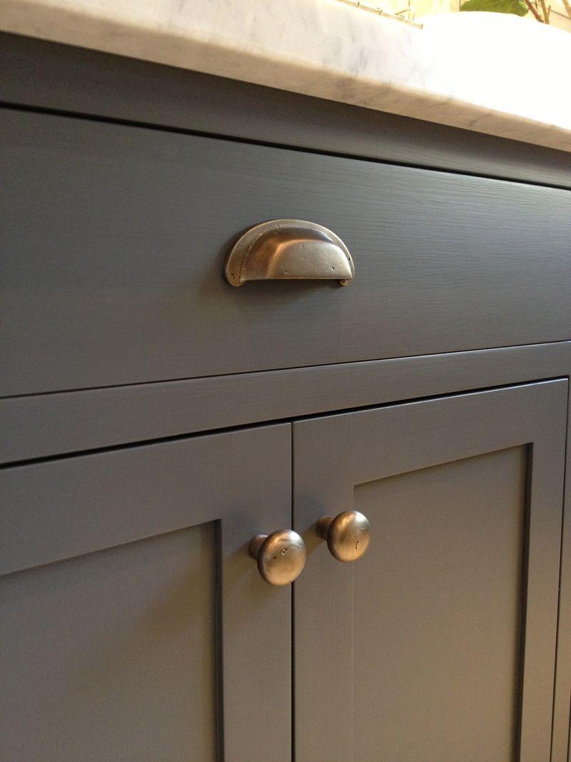 kitchen cabinets hardware Kitchen cabinets Urbane Bronze by Sherwin Williams and antique brass hardware