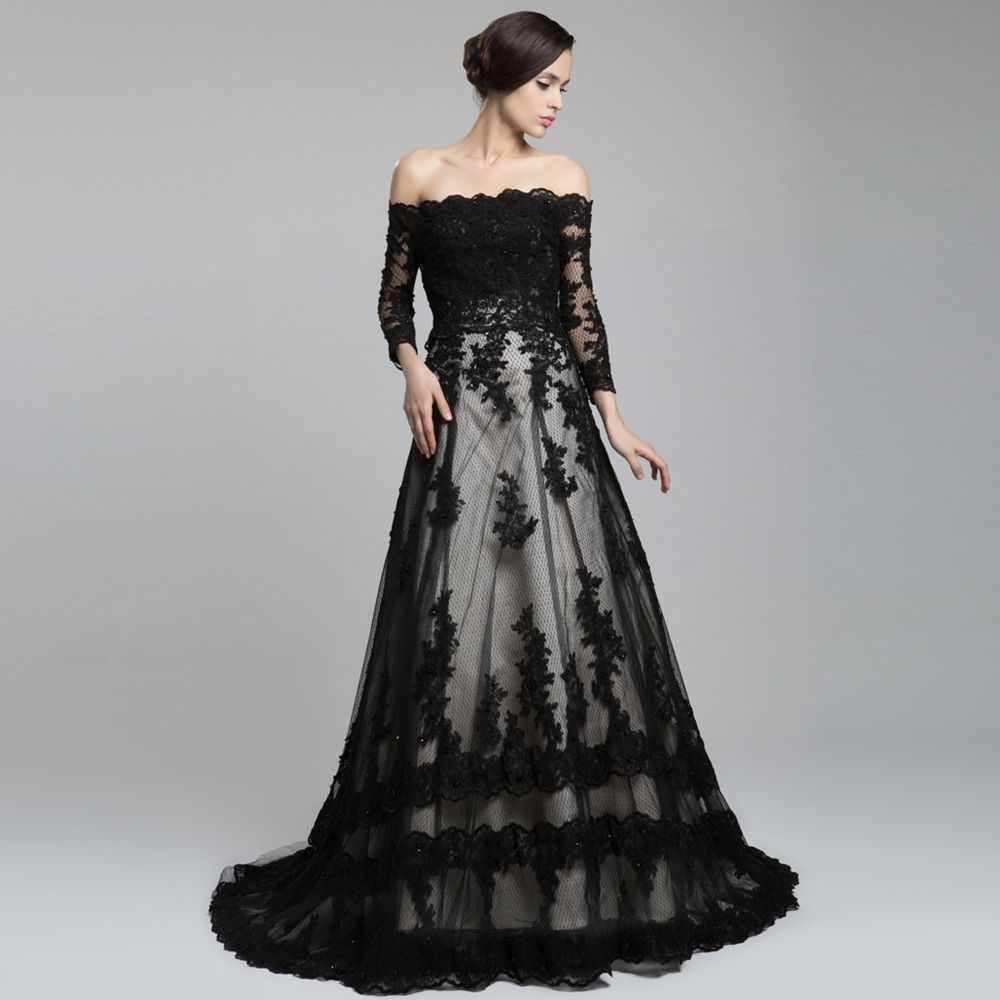 black wedding dresses Off The Shoulder Long Sleeve Lace Long Train A Line Wedding Dress Black