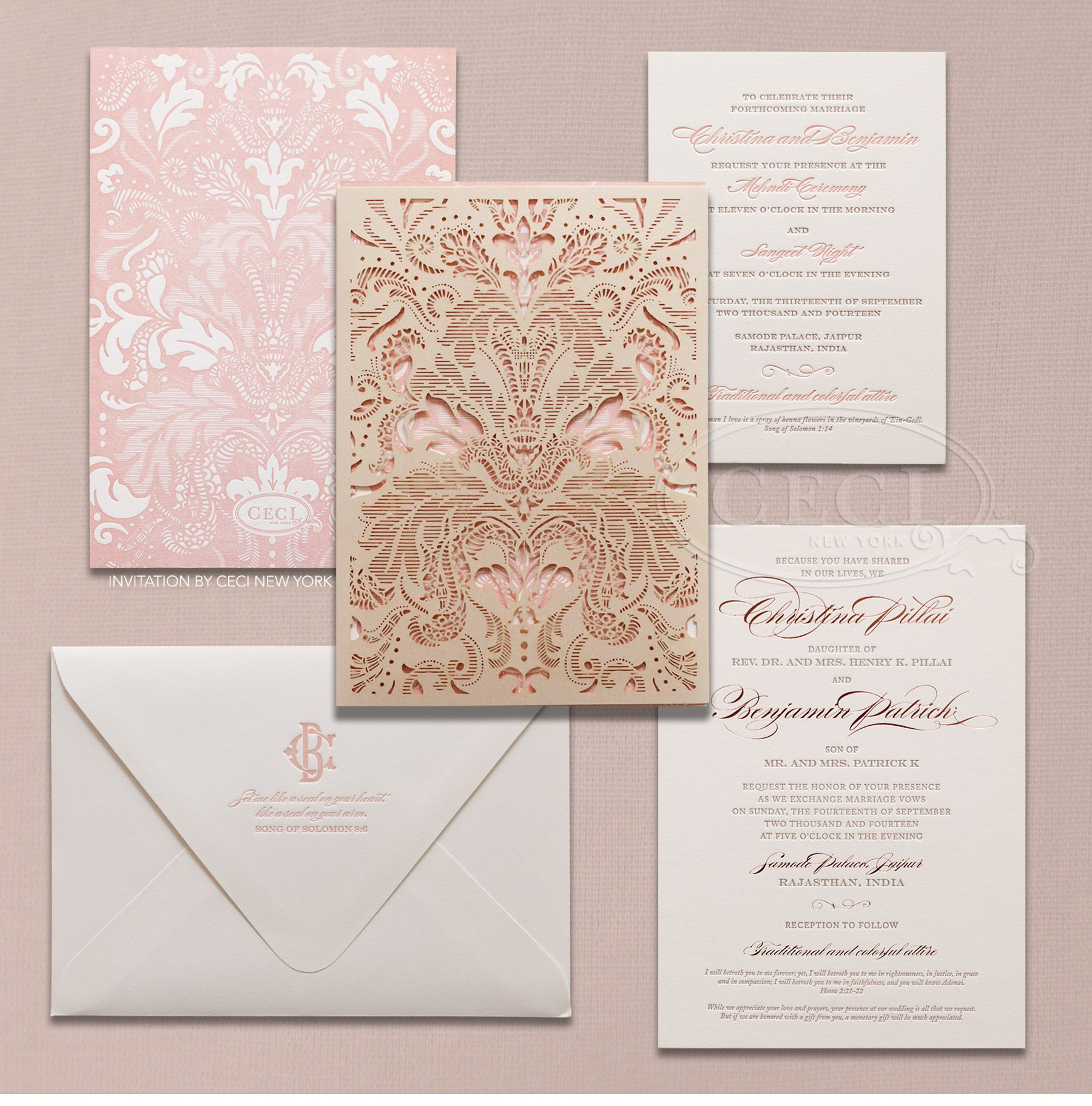 indian wedding invitation Luxury Wedding Invitations by Ceci New York Our Muse Vibrant Indian Wedding Be