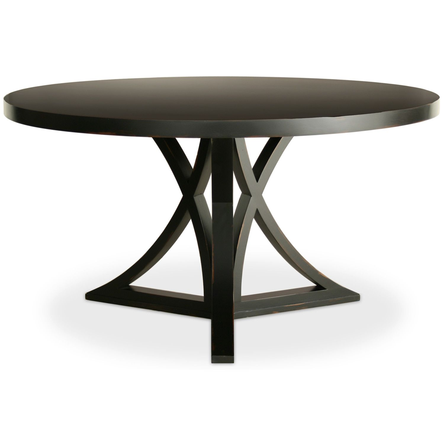 the kitchen table An unusual curved X base puts a geometric twist on the Redford House Floyd dining table This eye catching round furnishing is an ideal complement to