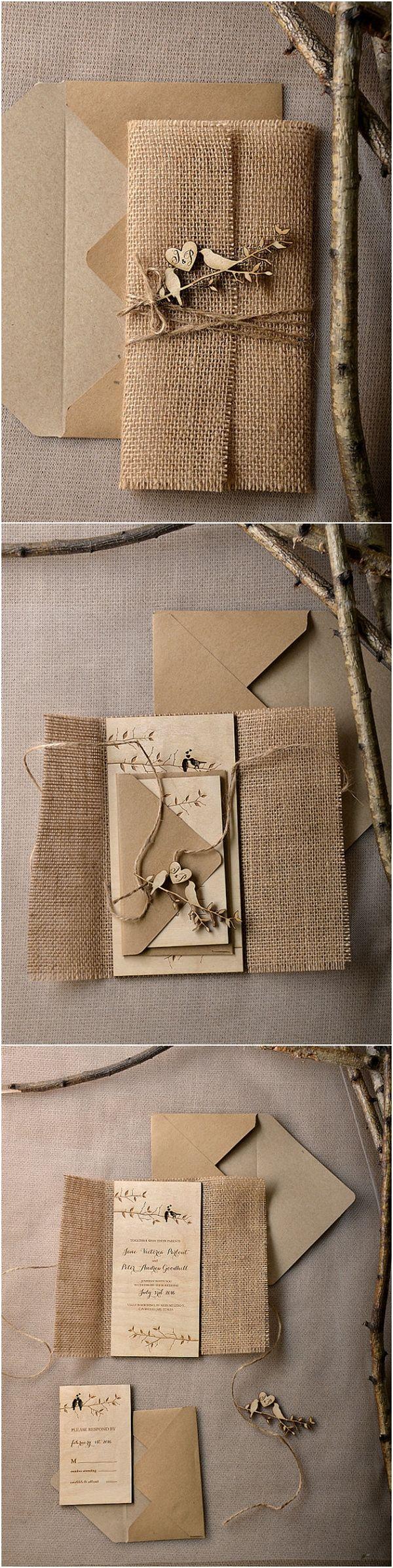 country wedding invitations Eco Burlap Rustic Country Laser cut Wood Wedding Invitation Suite