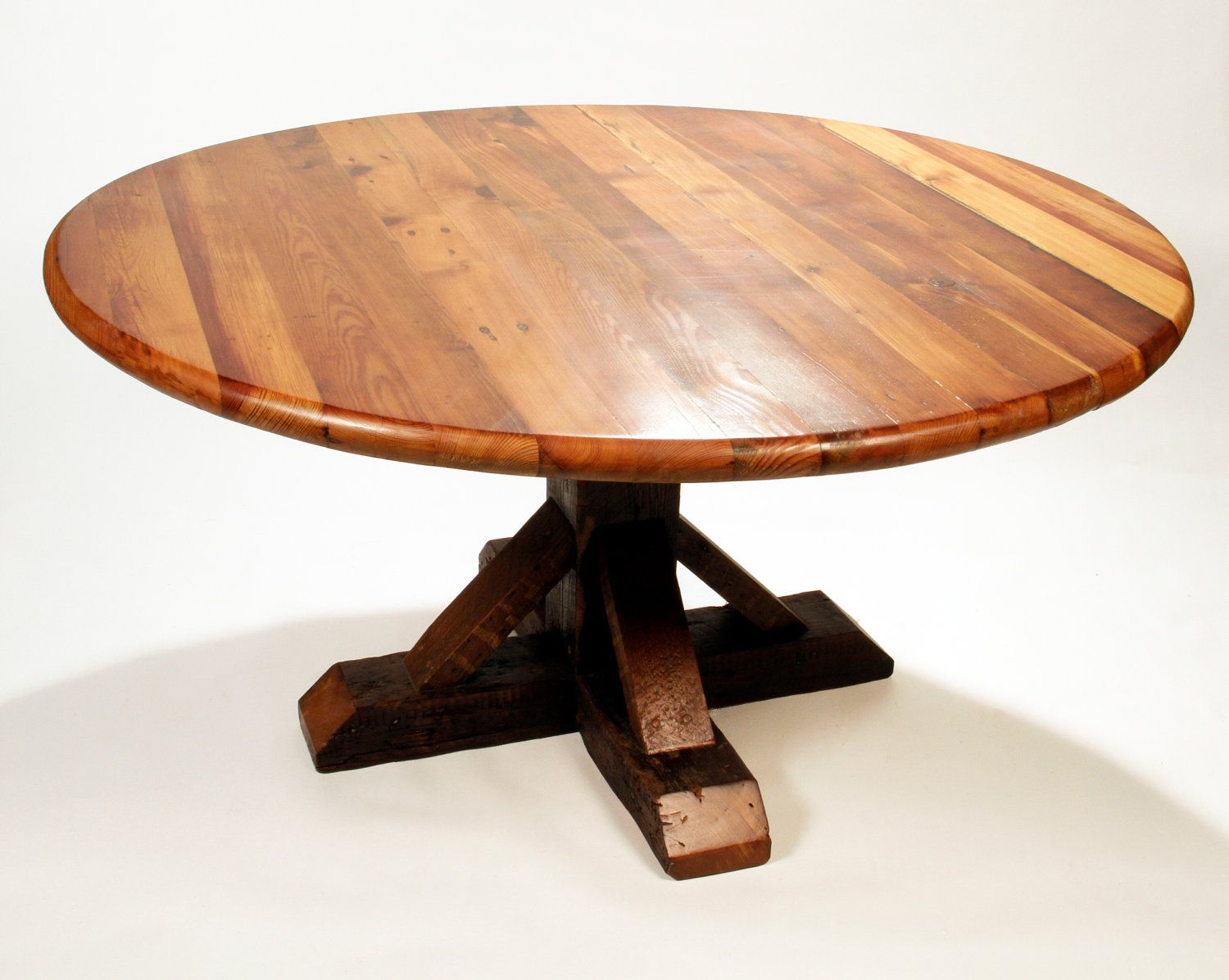rustic round kitchen table Reclaimed Wood Dining Table Round Antique Heart Pine reclaimed sustainable eco friendly modern rustic