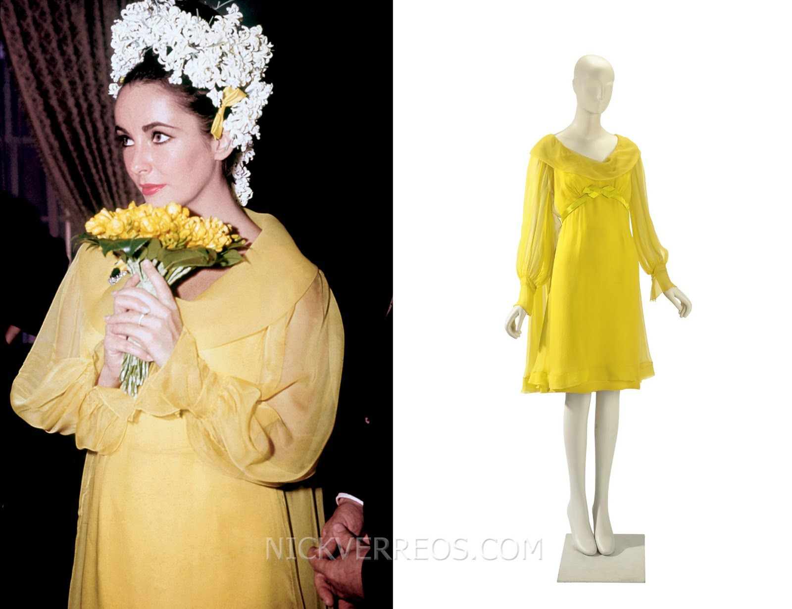 yellow wedding dress For her marriage to Richard Burton Liz wore a sunflower yellow chiffon dress from Hollywood costume eesigner Irene Sharaff who designed her Cleopatra