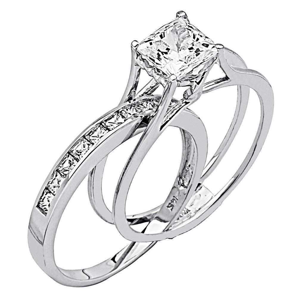 engagement wedding rings Wedding Rings For Women Princess Cut 14K White Gold High Poliosh Finish Princess cut Ring