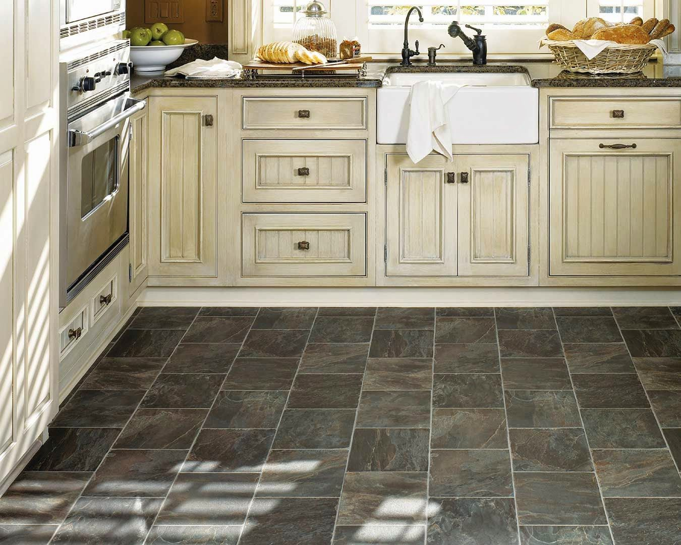 kitchen floor lino pickled oak cabinets dark floors Best Black Vinyl Sheet Flooring For Small Kitchen With Old