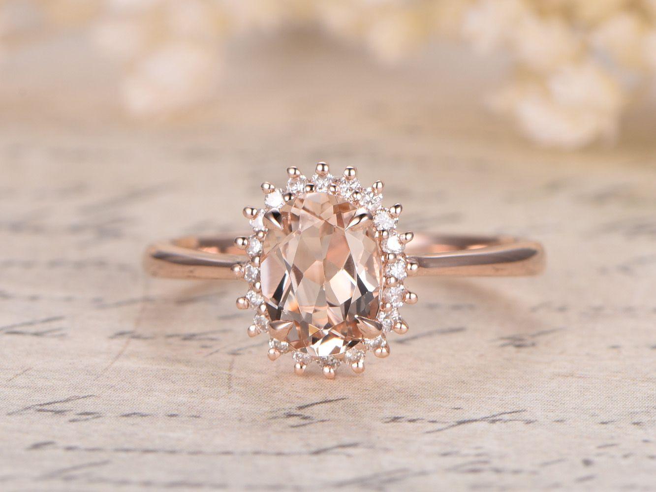 morganite engagement rings morganite wedding ring set Princess Diana Ring mm Oval VS Pink Morganite Ring 14K Rose Gold Morganite Engagement