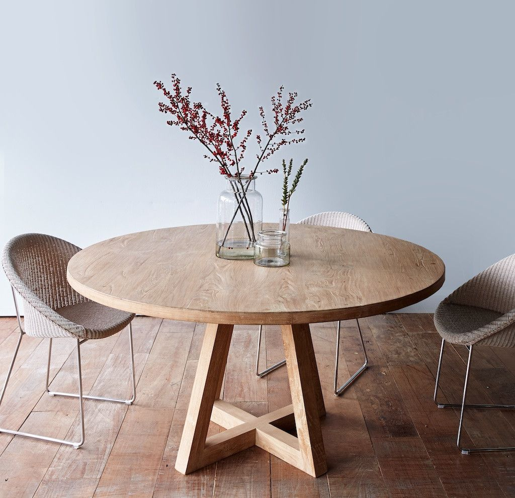 whitewash kitchen table Cross Leg Round Dining Table Whitewashed Teak More