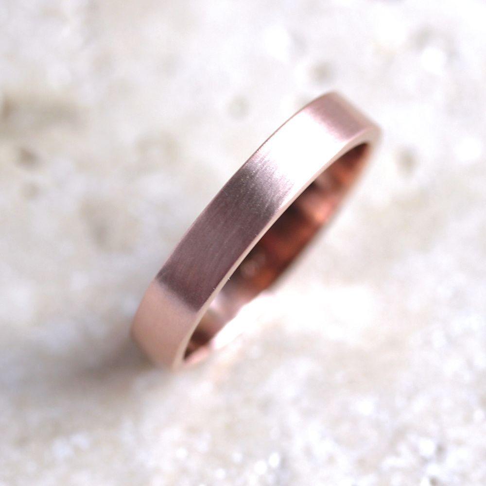 etsy wedding bands Rose Gold Mens Wedding Ring 4mm Flat Recycled 14k Red Gold Wedding Band Rose