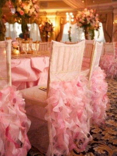 Pink Ruffles wedding chair covers | by Wildflower Linen ...