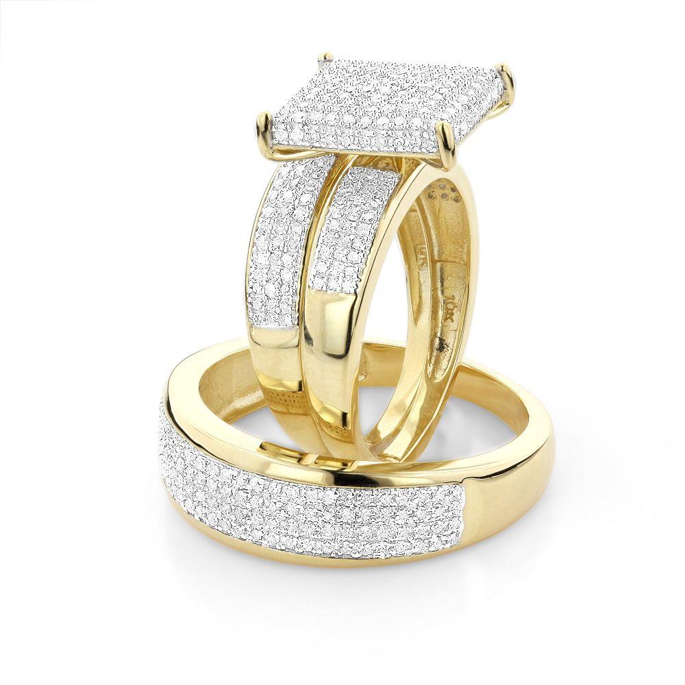 affordable wedding rings Affordable Trio Ring Sets Diamond Wedding Ring Set 1 25ct 10K Gold