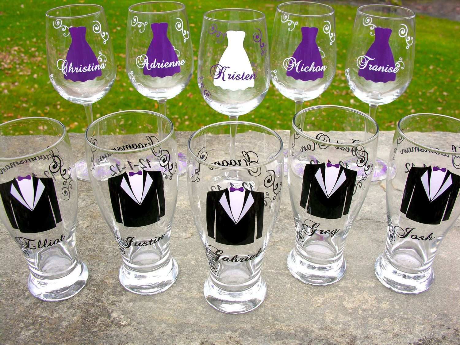 wedding wine glasses Wedding party glasses wine glasses and beer pilsner glasses Bridesmaids and Groomsman gifts Plum purple dress and tux glasses 1 glass