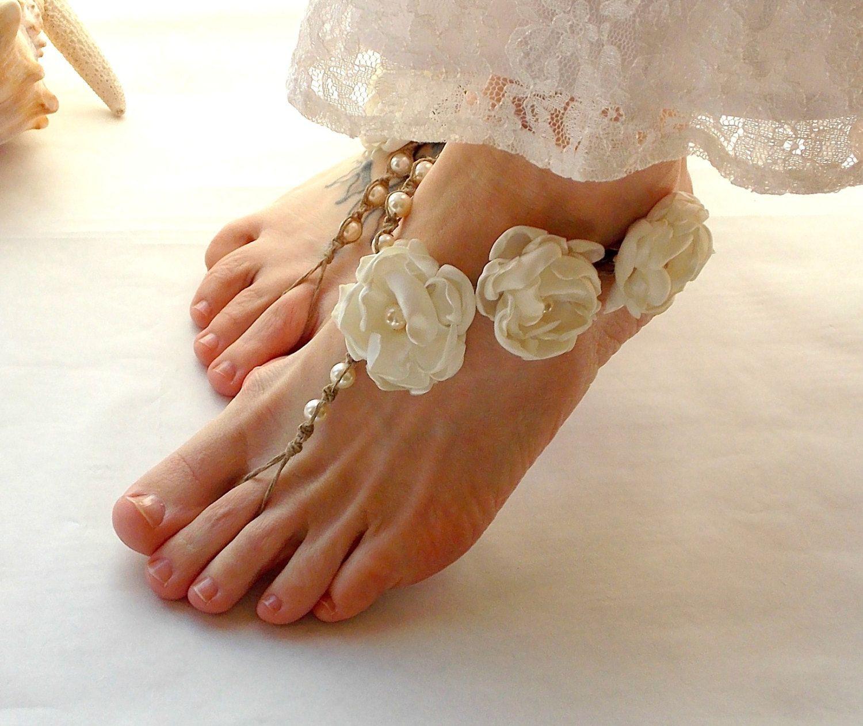 beach wedding shoes Barefoot Sandals Bridal Barefoot Sandals Beach Wedding Shoes Garden Wedding Barefoot Jewelry hemp Toe Thong Ivory
