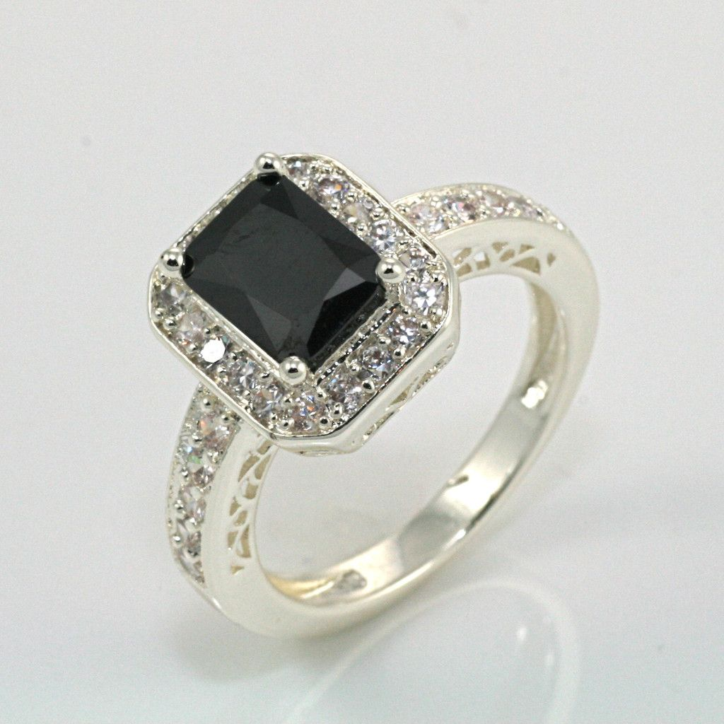 onyx wedding band Emerald Cut Black Onyx Ring would be a very exotic and unique engagement ring