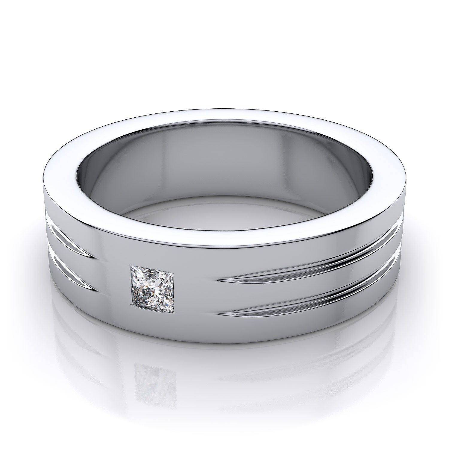 male wedding bands Men s Princess Cut Diamond Wedding Ring in 18k White Gold