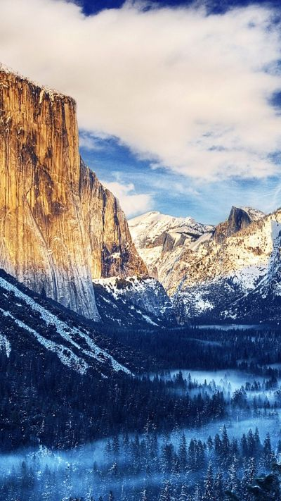 Yosemite National Park Winter Landscape iPhone 6 Plus HD Wallpaper | iPhone Wallpapers ...