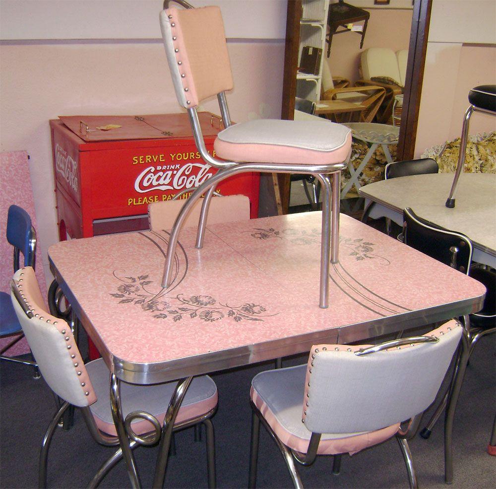 vintage kitchen tables Chrome And Formica Dining Sets Pink Patterened Formica Set OLD DINETTE SETS Vintage Kitchen TablesKitchen