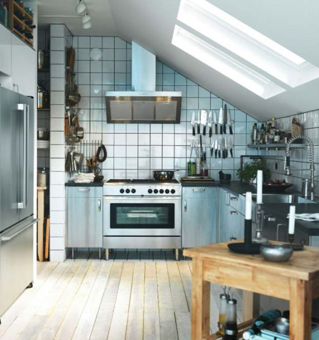 small apartment kitchen ideas ikea ikea kitchen design Small Apartment Kitchen Design With Sloped Ceiling And Wooden