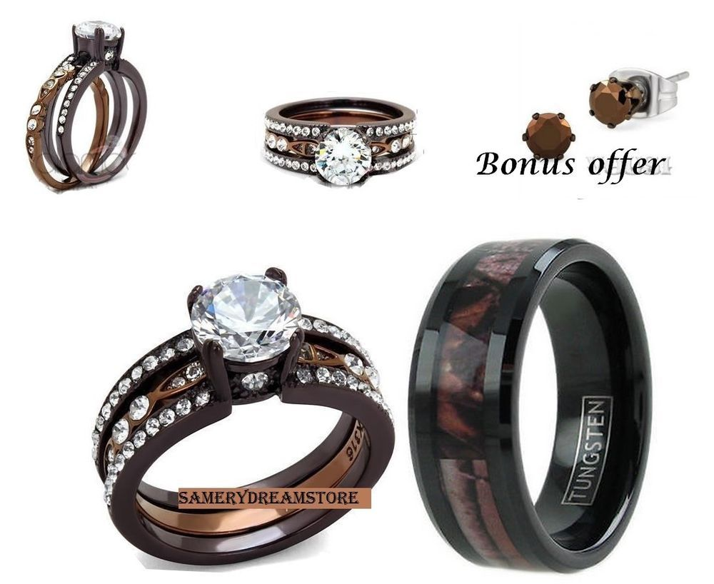 realtree wedding rings His camo and hers brown men s women s cz stainless steel engage wedding ring set