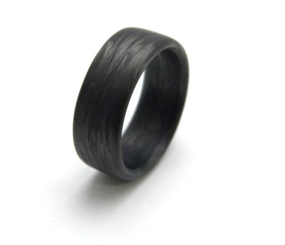 carbon fiber wedding bands Custom Carbon Fiber Ring in Damascus Grain 9mm YOU CHOOSE SIZE