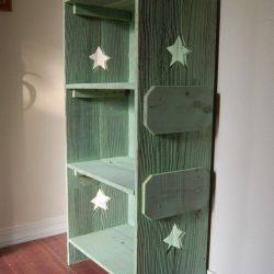 Wood Bookcase Choose Color Side Cutouts by Trueconnection