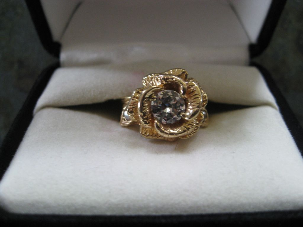 rose wedding ring rose shaped engagement ring Ladies 14K Solitaire Diamond Wedding Ring shaped like a Rose with