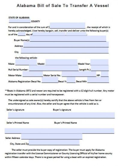 Printable Sample Bill Of Sale Alabama Form   Real Estate Forms Word   Pinterest   Alabama and ...