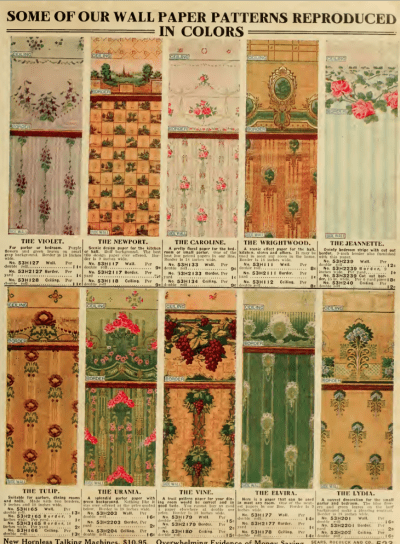 Wallpaper from the 1912 Sears catalog. | Craftsman Stencils, Wallpaper and Paint Colors ...