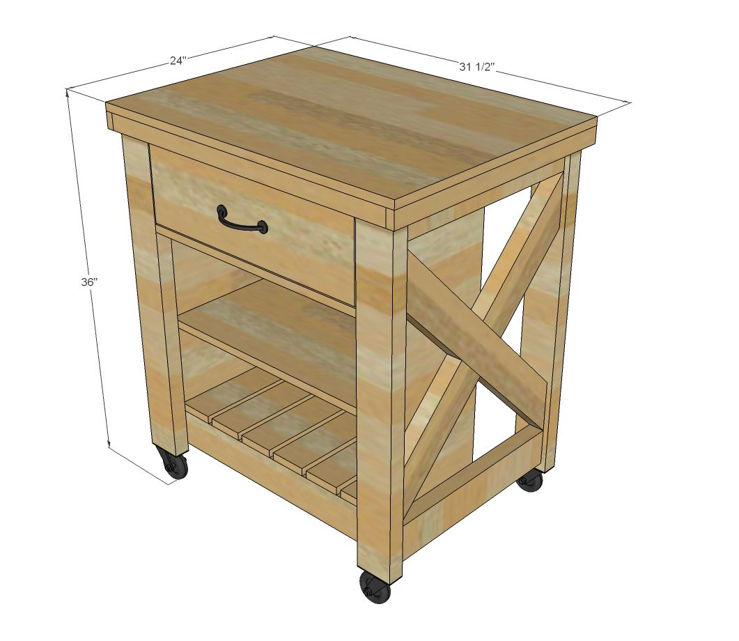 rolling kitchen chairs Ana White Build a Rustic X Small Rolling Kitchen Island Free and Easy DIY