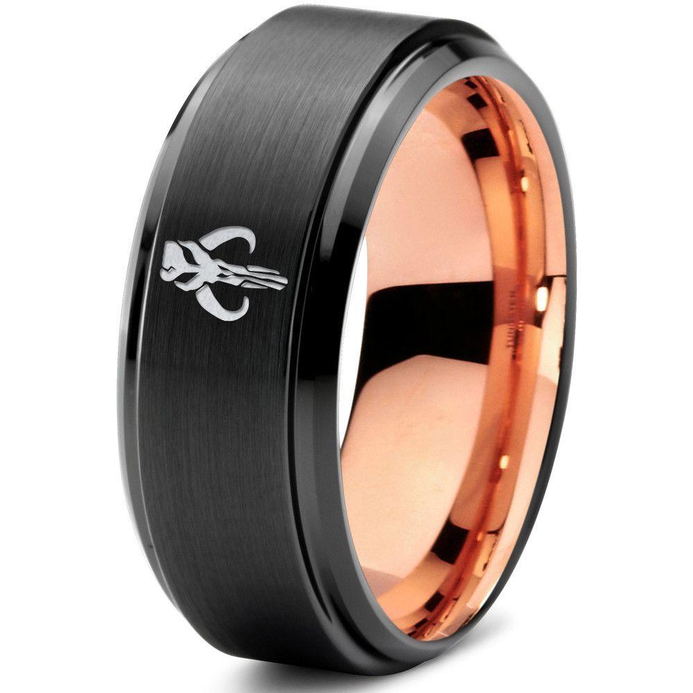 star wars wedding bands Star Wars Mythosaur 18k Rose Gold Black Step Bevel Tungsten Ring
